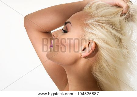 Graceful Blond Woman With Closed Eyes