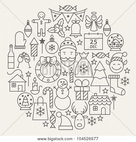 Christmas New Year Holiday Line Icons Set Circular Shaped