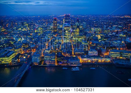 Aerial view of night London