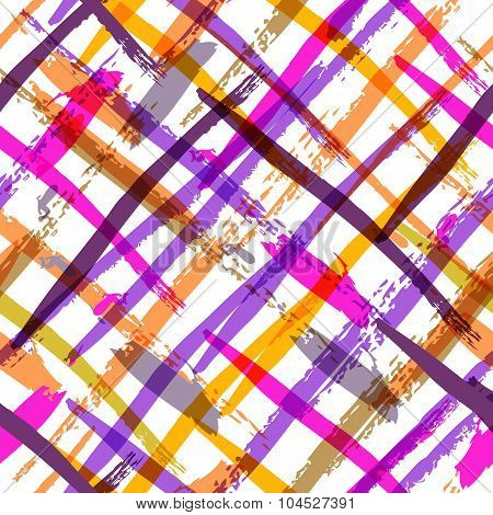 Seamless Watercolor Bold Plaid Pattern With Colorful Diagonal Stripes.
