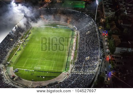 Aerial Soot Of The Toumba Stadium Full Of Fans During A Football Match For The Championship Between