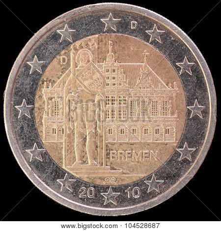 Commemorative Two Euro Coin Issued By Germany In 2010 And Celebrating The Federal State Of Bremen