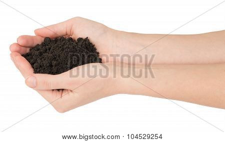 Heap of ground in humans hands