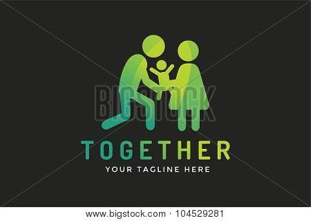 Happy family vector logo template