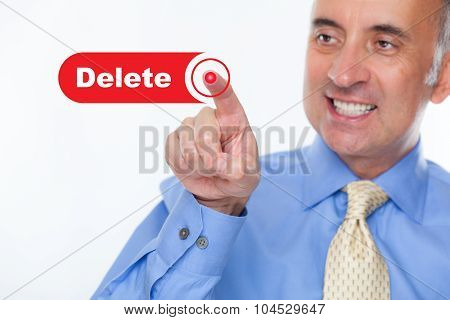 Man pushing the delete button