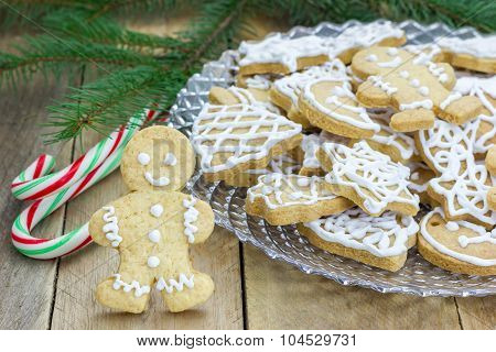 Homemade Christmas Shortbread Cookies On A Glass Plate