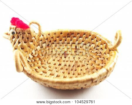 Weave Basket, Dried Water Hyacinth With Chicken Shape