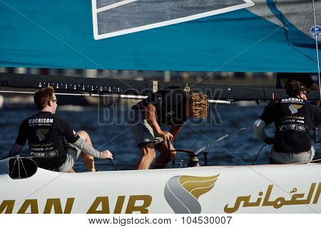 ST. PETERSBURG, RUSSIA - AUGUST 22, 2015: Catamaran of Oman Air sailing team during 3rd day of St. Petersburg stage of Extreme Sailing Series. The Wave, Muscat team of Oman leading after 2 days