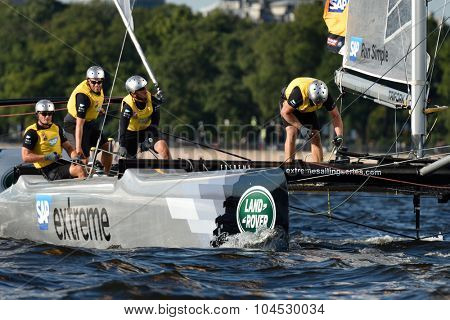ST. PETERSBURG, RUSSIA - AUGUST 20, 2015: Catamaran of SAP Extreme Sailing Team of Denmark during 1st day of St. Petersburg stage of Extreme Sailing Series. Red Bull Sailing Team won the day