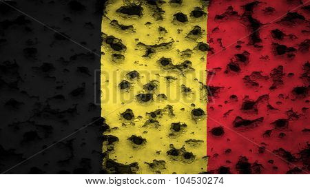 Flag of Belgium, Belgian flag painted on wall with bullet holes