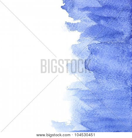 Blue watercolor brush strokes - abstract background with space for your own text