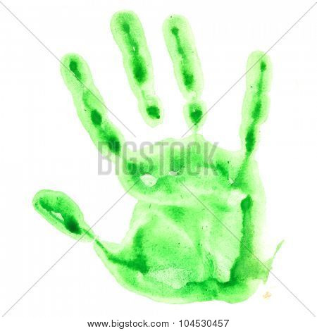 Green watercolor hand print isolated on white background, raster illustration