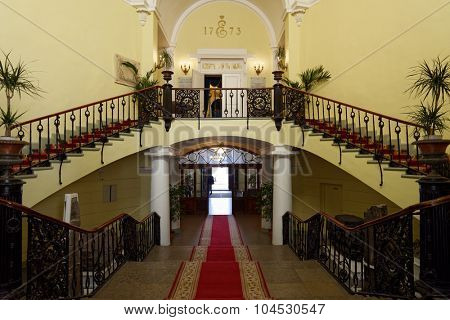 ST. PETERSBURG, RUSSIA - SEPTEMBER 1, 2015: Main staircase of National Mineral Resources University in the Day of Knowledge. It's the oldest Russian higher education school devoted to engineering