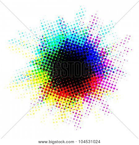 Multicolor halftone blot with dots