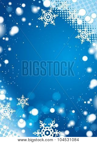 Blue winter background with snowflake frame border