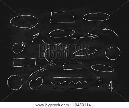 Hand-drawn chalk scribble design elements