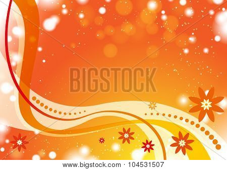 Orange wave background with flowers
