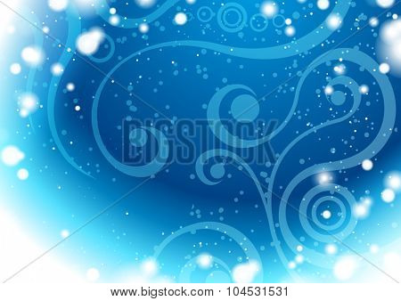 Blue winter background with floral elements