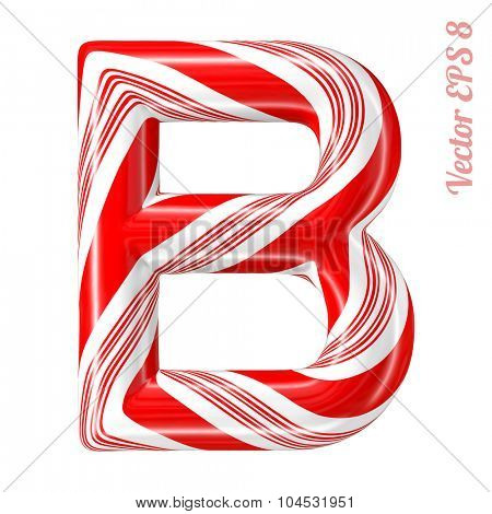 Mint hard candy cane vector alphabet collection striped in Christmas colours. Letter B. Eps 8 using mesh.