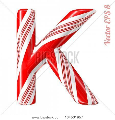 Mint hard candy cane vector alphabet collection striped in Christmas colours. Letter K. Eps 8 using mesh.