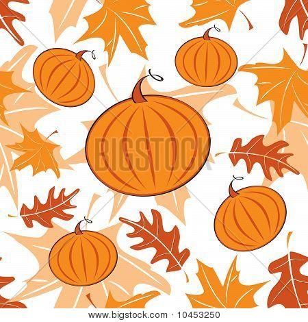 Autumnal seamless pattern with pumpkins