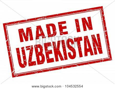 Uzbekistan Red Square Grunge Made In Stamp
