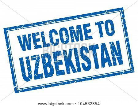 Uzbekistan Blue Square Grunge Welcome Isolated Stamp