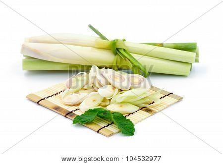 Lemon Grass Slice On White Background.