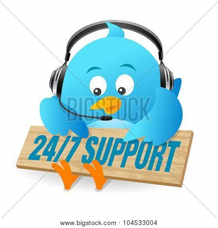 Blue Bird 24/7 Support Sign