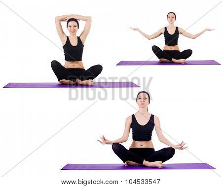 Set of yoga exercises on white