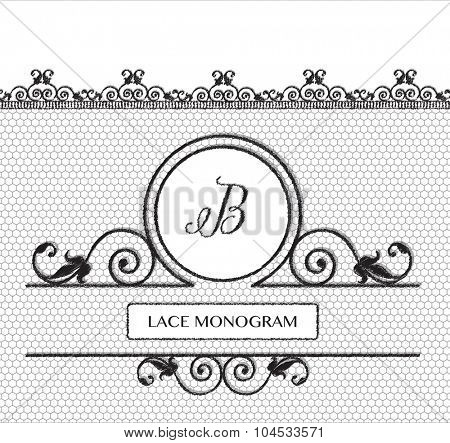 Letter B black lace monogram, stitched on seamless tulle background with antique style floral border.