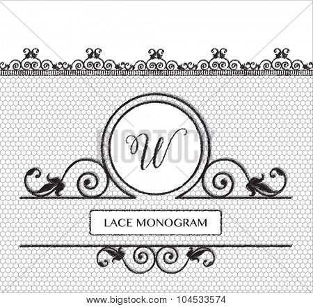 Letter W black lace monogram, stitched on seamless tulle background with antique style floral border.