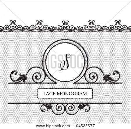 Letter S black lace monogram, stitched on seamless tulle background with antique style floral border.