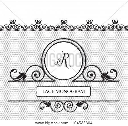 Letter R black lace monogram, stitched on seamless tulle background with antique style floral border.