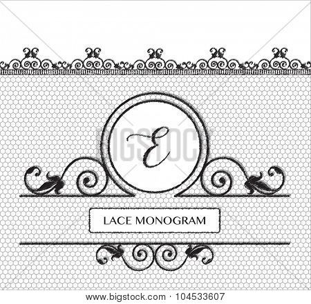 Letter E black lace monogram, stitched on seamless tulle background with antique style floral border.