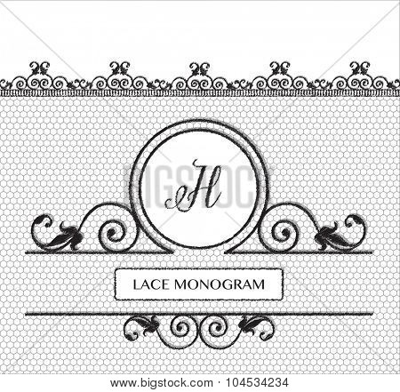 Letter H black lace monogram, stitched on seamless tulle background with antique style floral border.