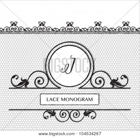 Letter I black lace monogram, stitched on seamless tulle background with antique style floral border.