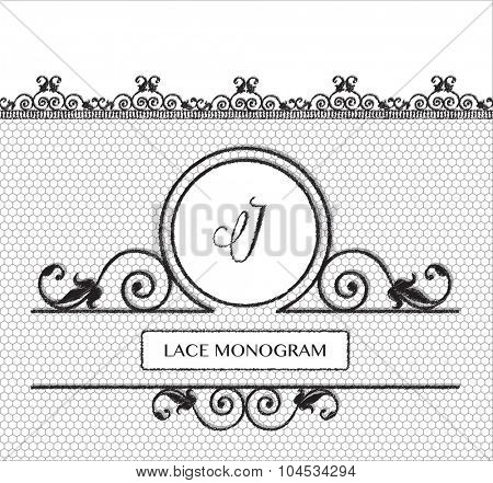 Letter J black lace monogram, stitched on seamless tulle background with antique style floral border.