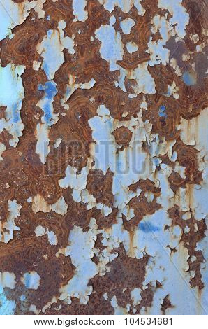 part of rusty iron fence