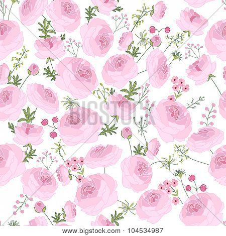 Seamless pink floral pattern with  ranunculus on white. Endless festive texture for wedding  design, announcements, postcards, posters.