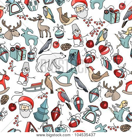 Seamless Christmas pattern with different decorative objects and animals. Endless festive texture for design, announcements, postcards, posters.