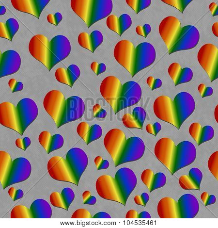 Lgbt Pride Colored Hearts Over Gray Tile Pattern Repeat Background