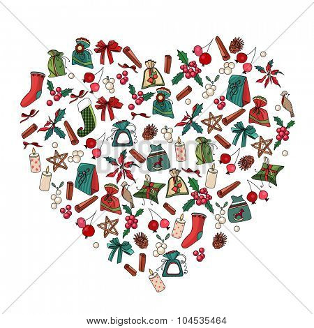 Decorative heart with different Christmas decoration. For your design, Christmas announcements, greeting cards, posters.