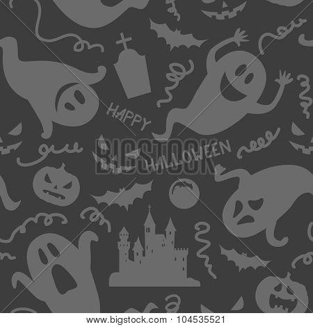 Halloween Ghost Seamless Pattern