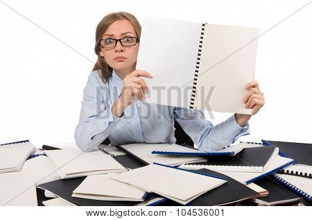 Office employee at work table isolated on white