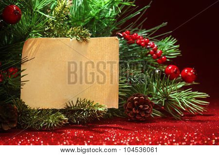 Christmas tree banches with blank note