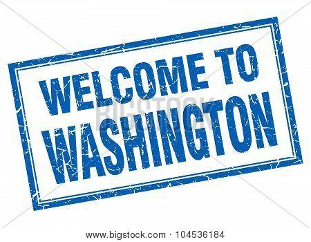 Washington Blue Square Grunge Welcome Isolated Stamp