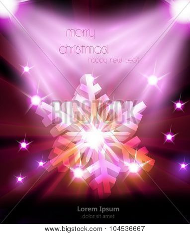 Merry Christmas snowflakes typography cover illustration