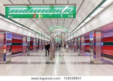 PRAGUE, CZECH REPUBLIC - SEPTEMBER 22, 2015: Modern station of Prague metro -  65.2 kilometres long, founded in 1974, has 3 lines and 61 stations. Its is fifth busiest metro system in Europe.