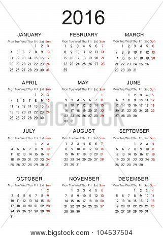 Calendar 2016 - Vector